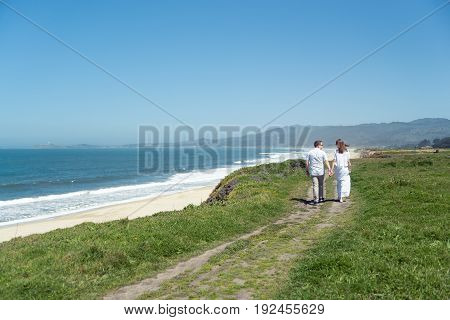 Young romantic couple spending vacation or weekend at the seaside, walking near the ocean holding hands, enjoying each other, having great time together. rear view