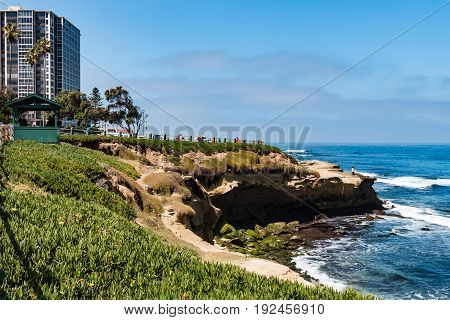 LA JOLLA, CALIFORNIA - JUNE 16, 2017:  Ice plants cover the side of an eroded cliff with surrounding hotels at La Jolla Cove, in San Diego County.