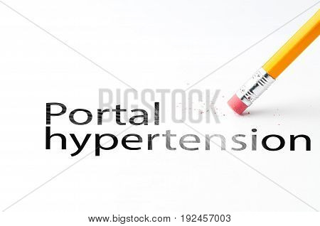Closeup of pencil eraser and black portal hypertension text. Portal hypertension. Pencil with eraser.