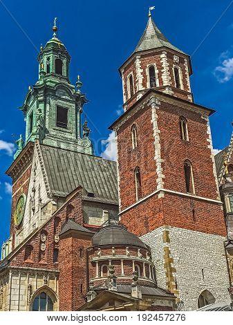 Fragment of the Catholic church in Krakow, Poland.