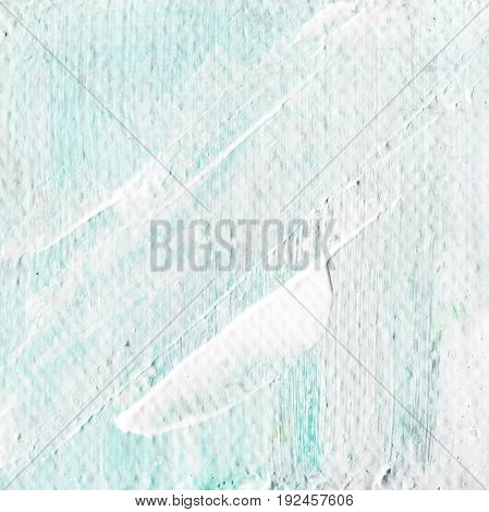 Abstract textured acrylic background in blue shades. Background of detail of blue oil painting. Blue creative abstract hand painted background of acrylic painting on canvas with brush strokes.