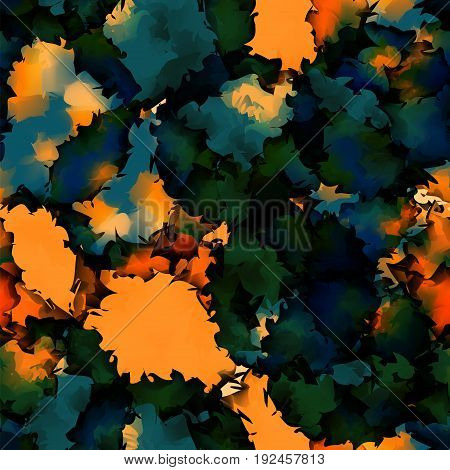 Orange Green Blue Watercolor Texture Background. Fine Abstract Orange Green Blue Watercolor Texture