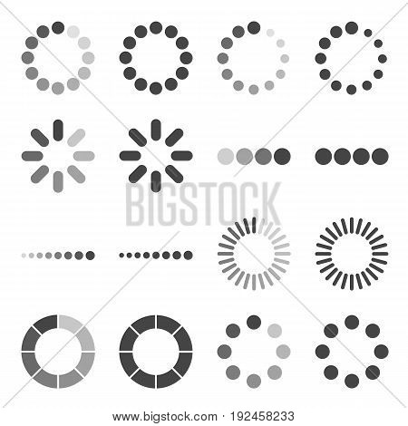 Loading Bar icon set vector symbol in outline flat style isolated on white background.