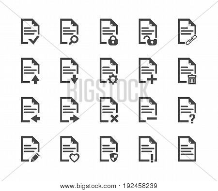 Document icon set vector symbol in outline flat style isolated on white background.