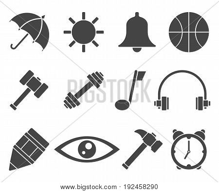 Web icon set vector symbol in outline flat style isolated on white background.