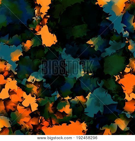 Orange Green Blue Watercolor Texture Background. Graceful Abstract Orange Green Blue Watercolor Text