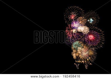 Fireworks isolated on black background with copy space for new year celebration and special occasions or text decoration