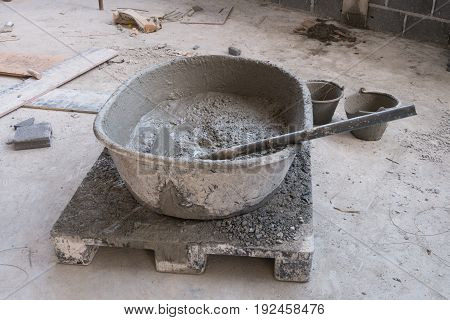 Concrete Mixing Step Of Sand, Cement And Water By Construction.