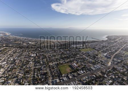 Aerial view of Ventura neighborhoods and the Pacific Ocean in Southern California.