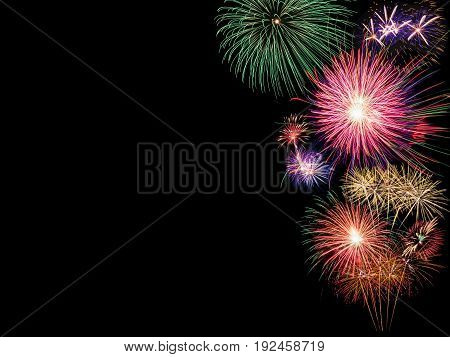 Big fireworks isolated on black background for new year celebration party festival or special occasions with copy space for text decoration