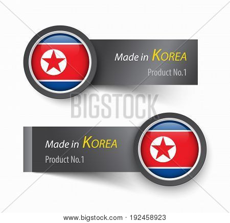 Flag icon and label with text made in North Korea .