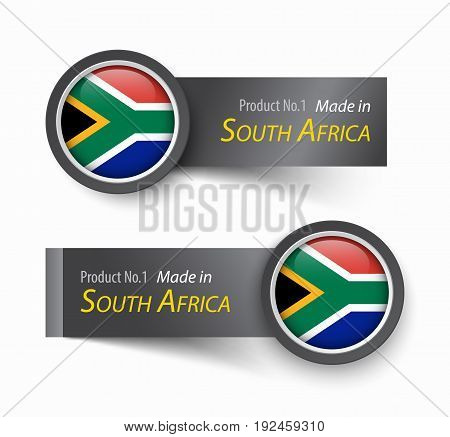Flag icon and label with text made in South Africa .