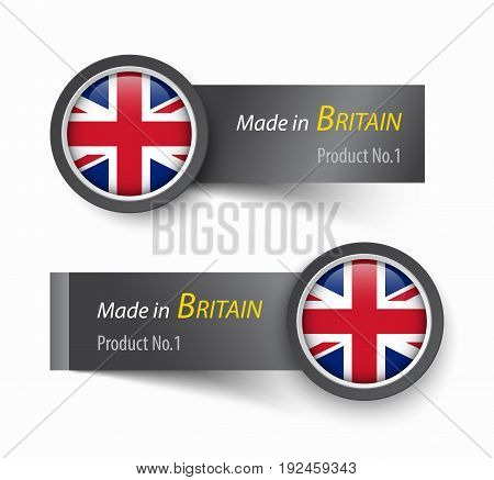 Flag icon and label with text made in The United Kingdom of Great Britain .