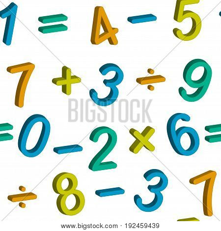 Seamless vector pattern with numbers from zero to nine and math symbols isolated on white background.