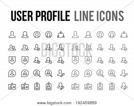 User Profile Vector Line Icon For App, Mobile Website Responsive