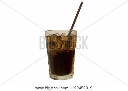 Cola with ice and in glass on white background