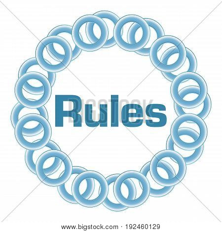 Rules text written over blue circular background.