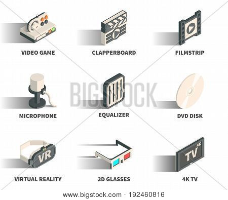 Isometric 3D web icon set - Video game clapperboard filmstrip microphone equaliser DVD disk virtual reality 3D glasses 4K TV.