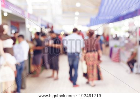 People Customer Shopping In Hall Exhibition Trade Fair, Image Blur Used Background