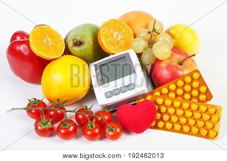 Blood Pressure Monitor, Fruits With Vegetables And Medical Pills, Healthy Lifestyle