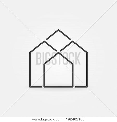 Real estate outline icon - vector minimal architecture concept symbol or logo element