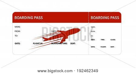 Airplane boarding pass. Red ticket isolated on white background. Vector illustration
