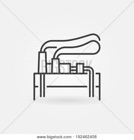 Geothermal energy linear icon - vector geothermal power plant concept sign