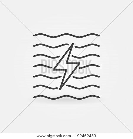 Hydroelectricity minimal icon - vector water energy concept sign or design element in thin line style
