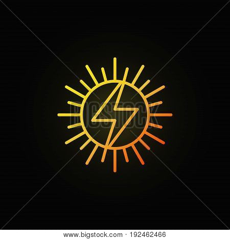 Sun concept colorful icon - vector solar energy sign in thin line style on dark background