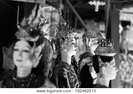 Group of Thai puppet in black and white tone