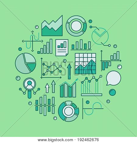 Colorful data analysis illustration. Vector statistics or analytics sign made with chart and diagram icons on green background