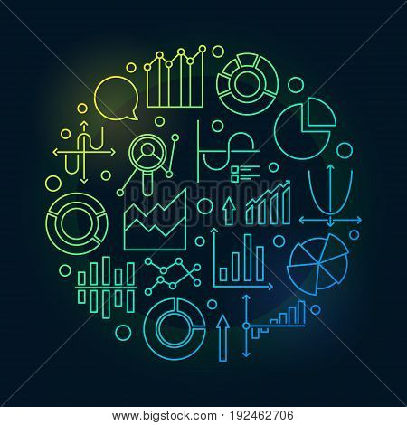 Data analysis colorful illustration - vector statistics or analytics sign made with linear chart and diagram icons on dark background