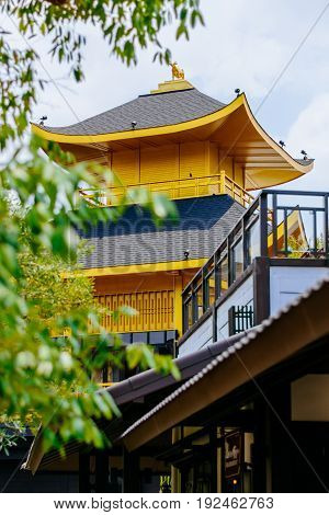 Japanese style castle in Thailand mimics from Golden Temple (Kinkakuji Temple) of Japan.