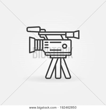 Professional video camera icon - vector outline video digital camera on a tripod icon or logo element in thin line style