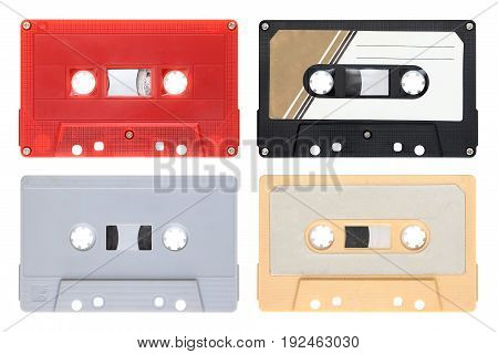Set of audio cassettes isolated on background
