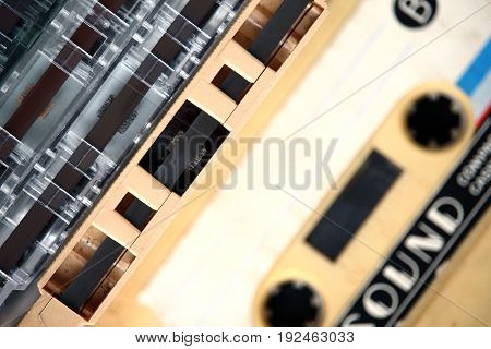 Close up of audio cassettes background, Vintage object