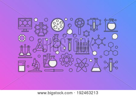 Chemistry colorful banner - vector illustration made with laboratory glass, test-tube and other chemical icons in thin line style