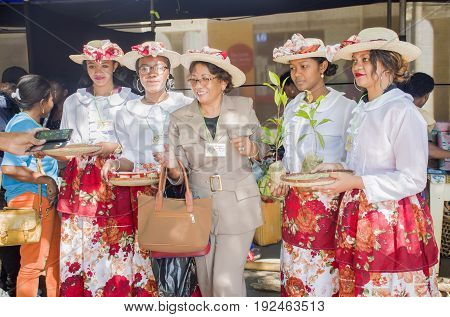Antananarivo Madagascar - June 16 2017 : Malagasy girls are ready for shooting photo during the carnival celebration around the street of the Independence Analakely Antananarivo