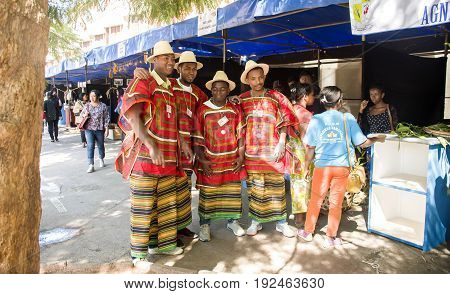 Antananarivo Madagascar - June 16 2017 : Malagasy boys are ready for shooting photo during the carnival celebration around the street of the Independence Analakely Antananarivo