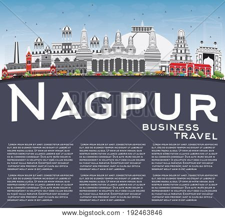 Nagpur Skyline with Gray Buildings, Blue Sky and Copy Space. Business Travel and Tourism Concept with Historic Architecture. Image for Presentation Banner Placard and Web Site.