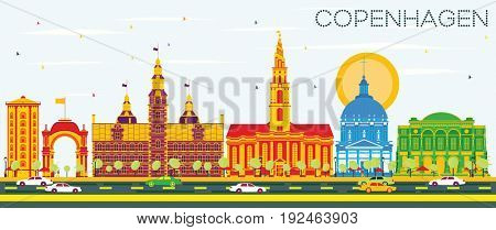 Copenhagen Skyline with Color Landmarks and Blue Sky. Business Travel and Tourism Concept with Historic Buildings. Image for Presentation Banner Placard and Web Site.