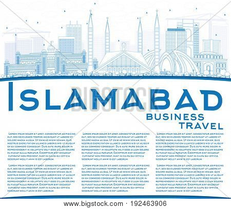 Outline Islamabad Skyline with Blue Buildings and Copy Space. Business Travel and Tourism Concept with Historic Architecture. Image for Presentation Banner Placard and Web Site.