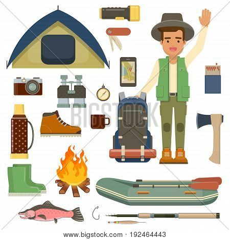 Cartoon character of hiker with backpack and accessories of hiking fishing and camping