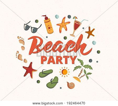 Beach Party text with beach element. Sand texture. Beach holidays fun design concept. Great for beach party posters, banners.