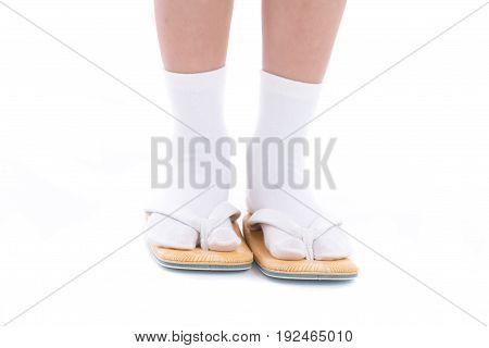 Close up of japanese shoe on white background isolated.