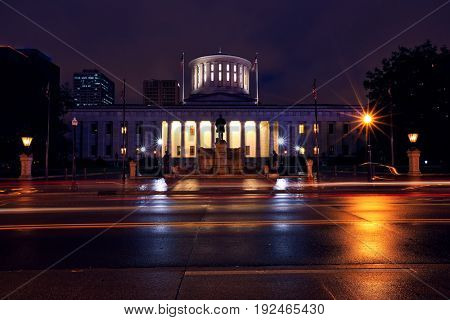The Ohio Statehouse in Columbus, OH at twilight.