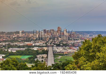 Distant view of Cincinnati, Ohio