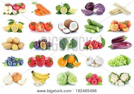 Fruits And Vegetables Collection Apples Oranges Bell Pepper Bananas Vegetable Food Isolated