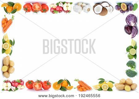 Fruits And Vegetables Frame Apples Oranges Tomatoes Vegetable Food Copyspace Copy Space
