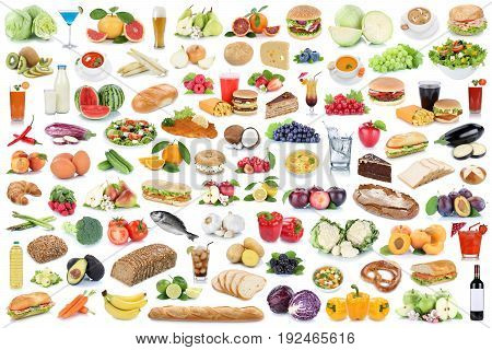 Food And Drink Collection Collage Healthy Eating Fruits Vegetables Fruit Drinks Isolated